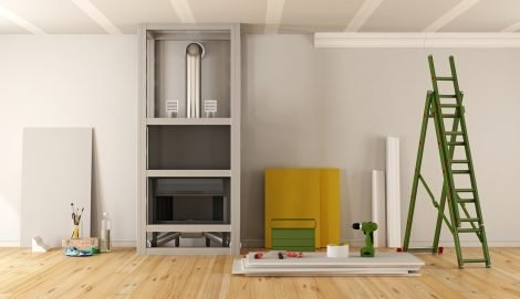 Home renovation with fireplace covered with plasterboard - 3d rendering