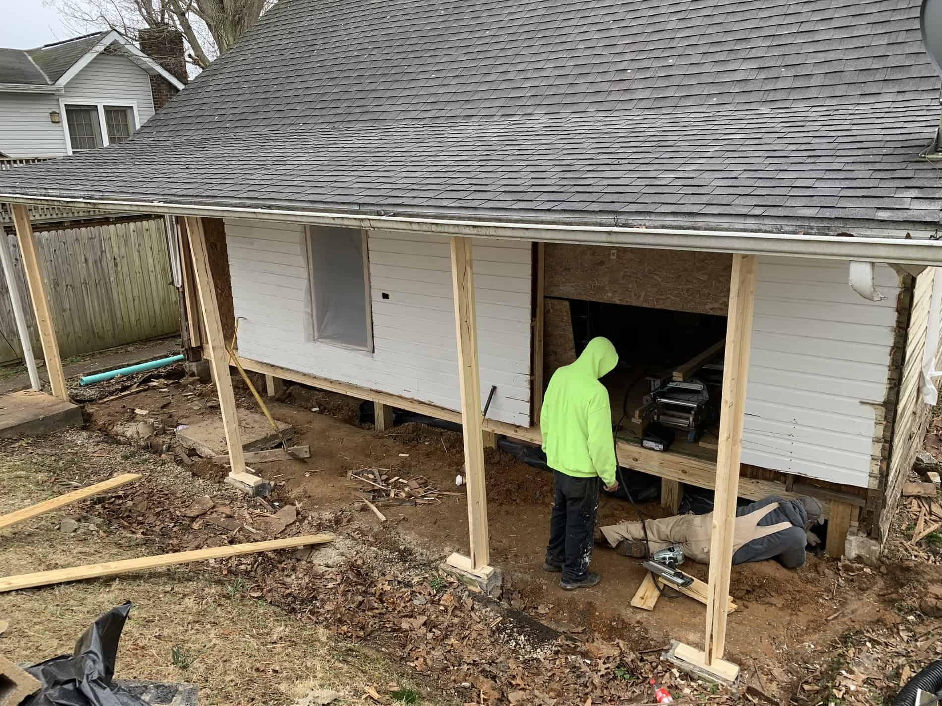 New Porch in Hurricane under construction