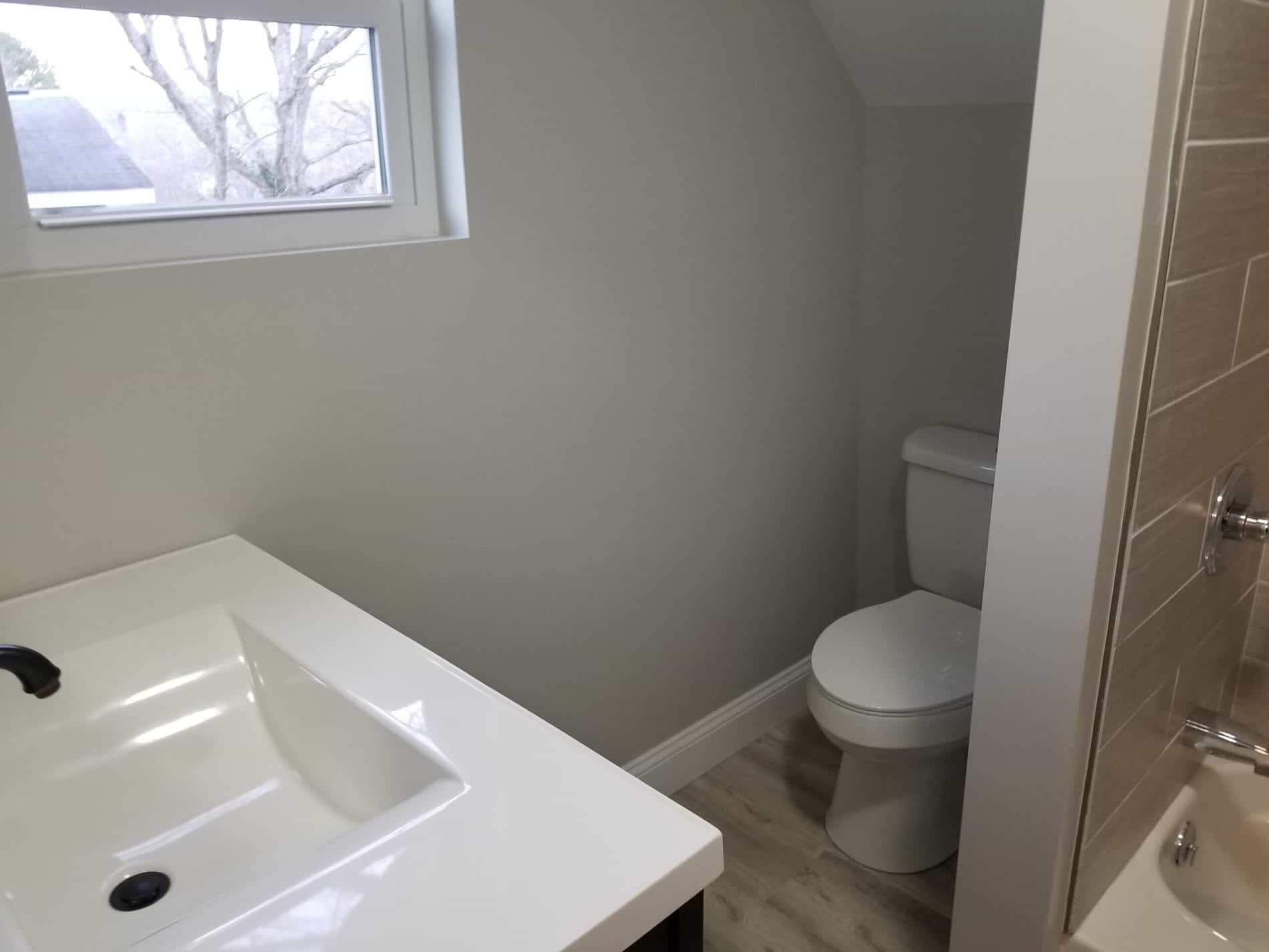 Home Remodel with bathroom on second floor with modern walls