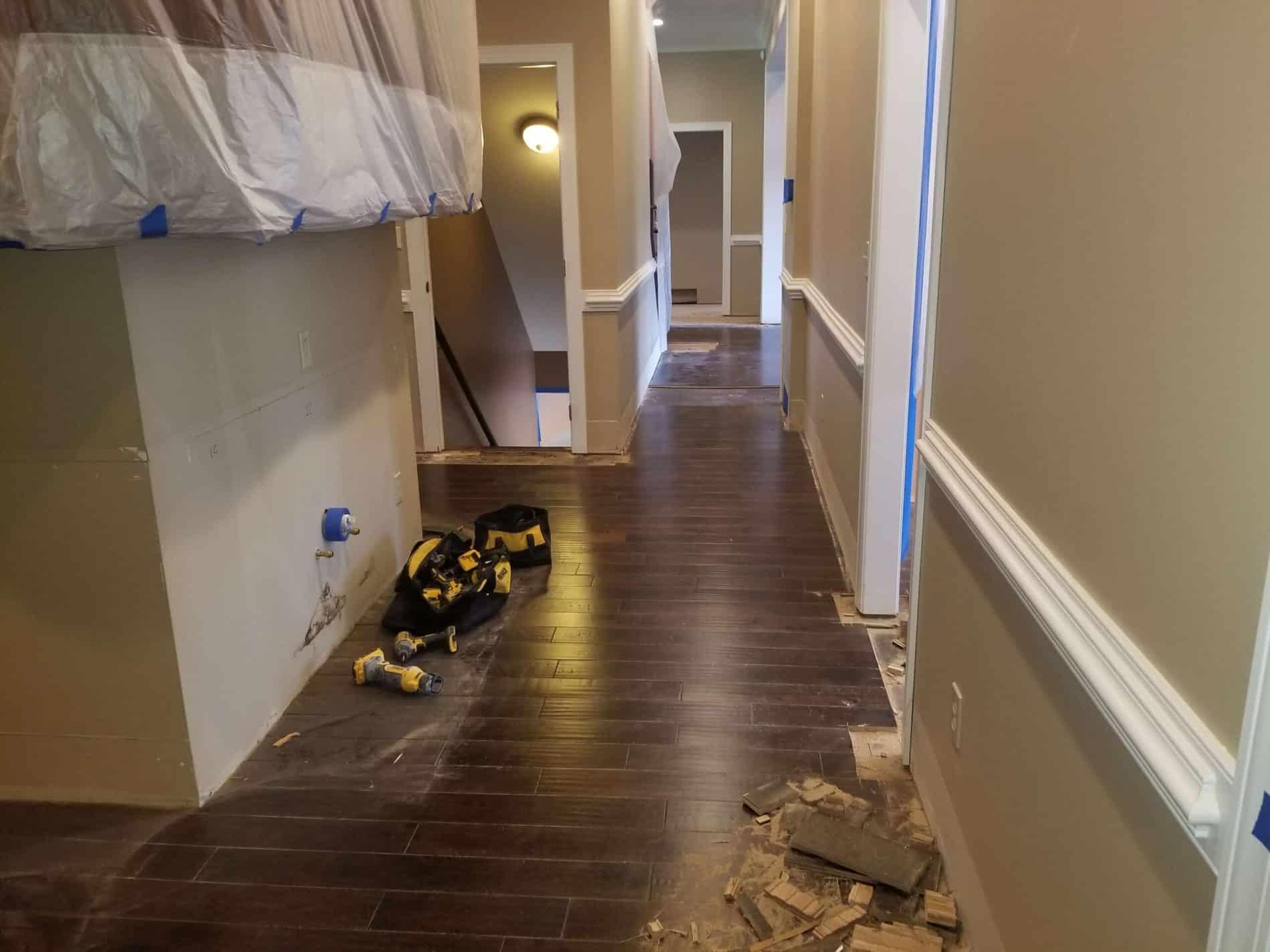 Hallway Restoration needed after water damage