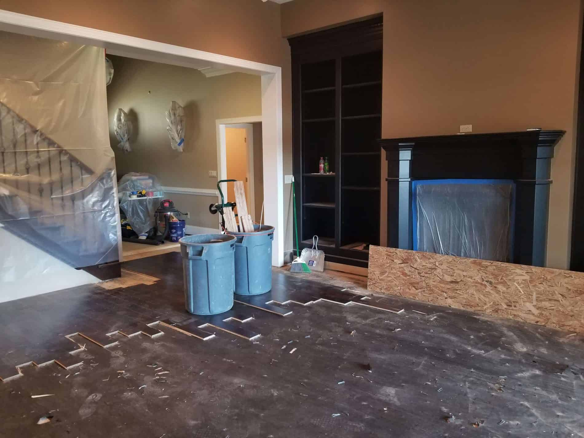 Living room being restored after water damage