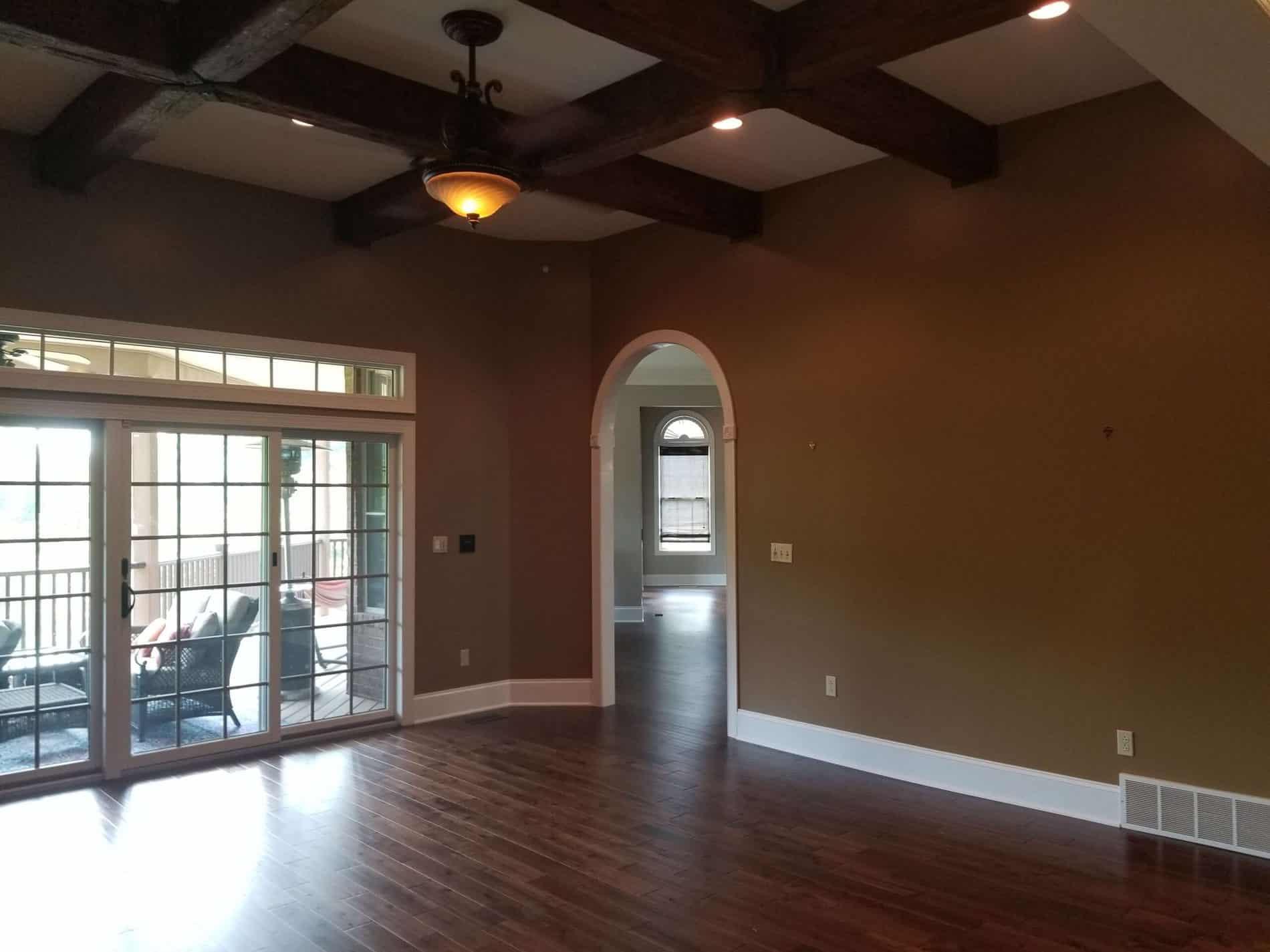 Living room flooring restoration after water damage